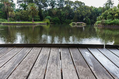 Wooden deck. Empty wooden deck with nature background Stock Photos