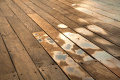 Wet Wooden Deck Stock Photo