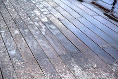 Wet Wooden Deck Stock Photography