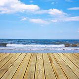 Wooden deck floor and sea Stock Photography