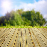 Wooden deck floor and summer background Royalty Free Stock Images