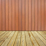Wooden deck floor and wall. Striped wooden deck floor and Painted brown grunge wooden planks background stock photography