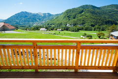 Wooden deck frame. Wooden house deck frame and mountain landscape stock image
