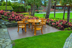 Wooden deck in garden on Flor Og Fjaere, Norway Stock Photography