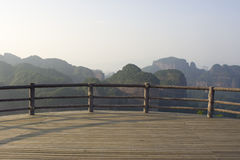 Wooden deck with mountain view Royalty Free Stock Photography