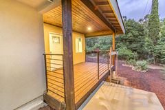 Wooden deck near dark. Outdoors in Southern California homes ready for real estate listings Royalty Free Stock Images