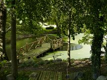 Wooden Deck On A Relaxing Green Pond In A Garden Stock Photo