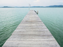 Wooden deck pier, Nature landscape background Royalty Free Stock Image
