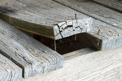 Wooden Deck Plank Warped And Curling Up. A set of old, cracked, peeling exterior deck board planks on a home with one that has warped alot and is curling up from Royalty Free Stock Images