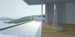 Wooden deck and pool overlooking the ocean Stock Image
