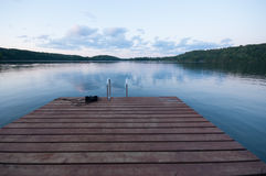 Wooden Deck / raft on a lake Stock Image