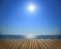 Wooden deck with sea Stock Photography