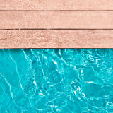 Wooden deck and swimming pool. Close up stock photos