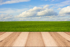 Wooden deck table over beautiful meadow Stock Image