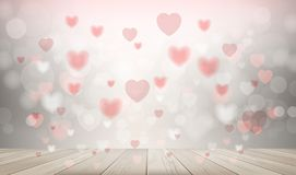 Wooden deck or terrace with heart blurred background used for greeting card, wedding card, wallpaper, celebration with sweet and. Romantic moment. Abstract vector illustration