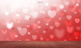 Wooden deck or terrace with light blurred of heart shape. Vector Royalty Free Stock Image