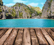 Wooden deck, tropical beach Stock Photography