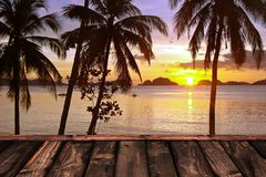 Wooden deck and tropical sunset with palm trees stock photo