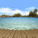 Wooden deck with turquoise waters Royalty Free Stock Photos