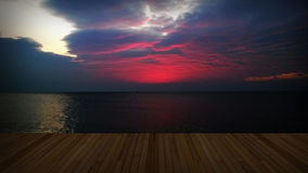 Wooden deck with twilight cloud Stock Photos