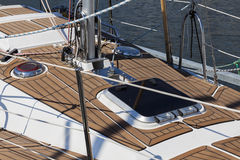 The wooden deck of the yacht Stock Photo