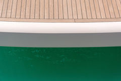 Wooden deck of a yacht Stock Photos
