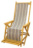 Wooden deckchair. Wooden Beach chairs with various colors fabric Isolated with Clipping Path Stock Photography