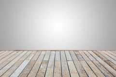 Wooden decking or flooring isolated on blank grey space for desi. Old wooden decking or flooring isolated on blank grey space for design Stock Photo