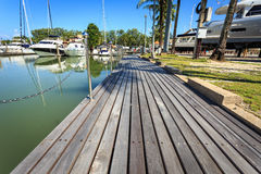Wooden decking at harbor Royalty Free Stock Photo
