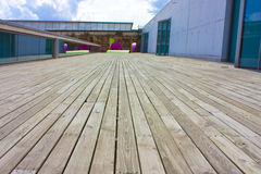 Wooden decking and sculptures Royalty Free Stock Images