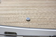 Wooden decking to motorboat Stock Photo