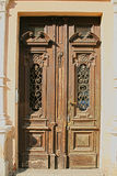 Wooden Decorated  Door in old House Royalty Free Stock Images