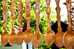 Wooden decorated spoons Royalty Free Stock Images