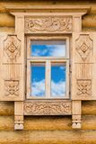 Wooden decorated window Stock Photos