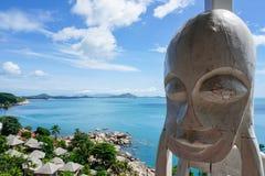 Wooden decoration against beautiful sea view. Koh Samui, Thailand Stock Photo
