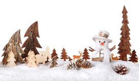Wooden decoration as a cute winter scene Royalty Free Stock Photography
