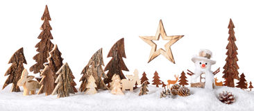 Wooden decoration as a cute winter scene Royalty Free Stock Image