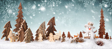 Wooden decoration as a cute winter scene Stock Photography