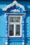 Wooden decoration on traditional Russian window Royalty Free Stock Image