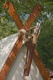 The wooden decoration of the viking tent. The picture of a decoration on the viking tent royalty free stock image