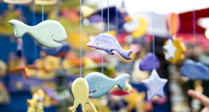 Wooden decorative fishes Royalty Free Stock Image