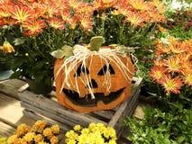 Wooden Decorative Halloween Jack o& x27; Lantern Royalty Free Stock Photo