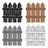 Wooden decorative sectional fence. Fencing for the protection of the garden.Farm and gardening single icon in cartoon Stock Photos
