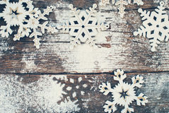 Wooden Decorative Snowflakes on Old Vintage Royalty Free Stock Images