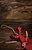 Wooden Deer Hanging Decoration on Wooden Table Royalty Free Stock Photos