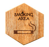 Wooden Designated smoking area sign Stock Images