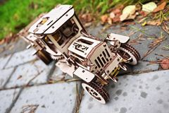 Wooden designer Ugears. It is a model of a car made of wood, only made of wood royalty free stock image
