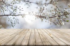 Wooden desk on bokeh blur abstract natural background stock photos
