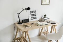 Wooden Desk With Books On Top royalty free stock image