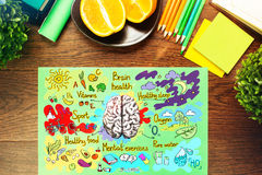 Wooden desk with brain sketch. Top view of wooden desk with healthy brainstorm sketch and supplies. Food for brain concept stock photos